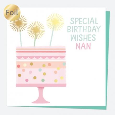 Luxury Foil Birthday Card - Sweet Spot Cake - Special Birthday Wishes Nan