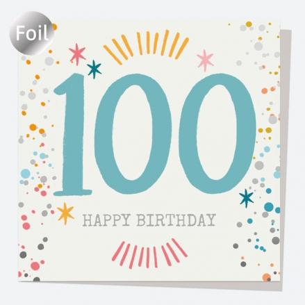 Luxury Foil Birthday Card - Typography Splash - 100th Happy Birthday