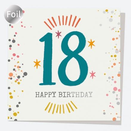 Luxury Foil Birthday Card - Typography Splash - 18th Happy Birthday