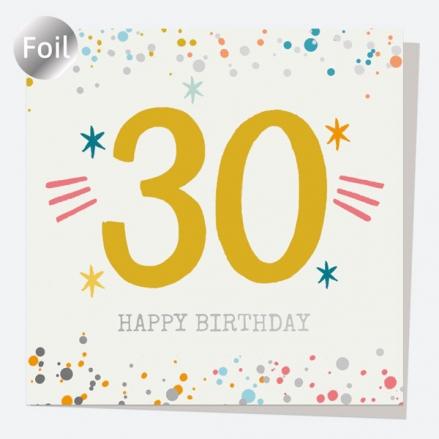 Luxury Foil Birthday Card - Typography Splash - 30th Happy Birthday
