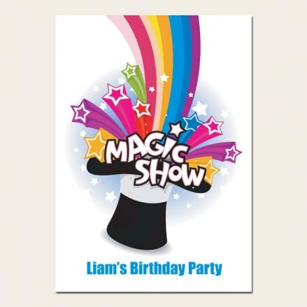 Personalised Kids Birthday Invitations - Magic Show - Pack of 10
