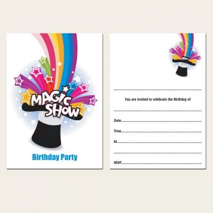 Ready to Write Kids Birthday Invitations - Magic Show - Pack of 10