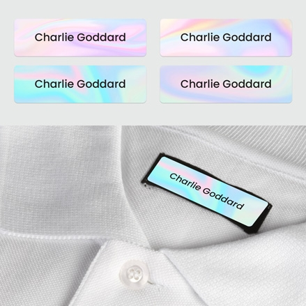 No Iron Small Personalised Stick On Waterproof (Clothing) Name Labels - Pastel Ombre - Mixed Pack of 60