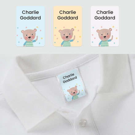 No Iron Personalised Stick On Clothing Name Labels - Dotty Bear Stripes - Mixed Pack of 56