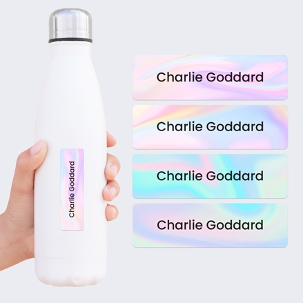 Medium Personalised Stick On Waterproof (Equipment) Name Labels - Pastel Ombre - Mixed Pack of 42