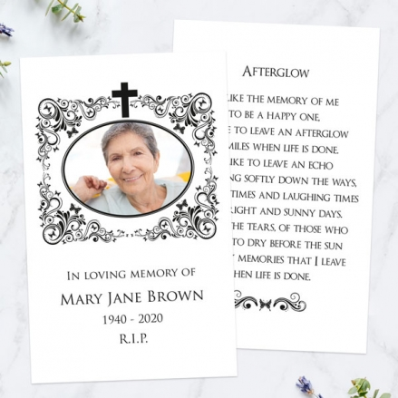 Funeral-Memorial-Cards-Ornate-Scrolls-&-Butterflies