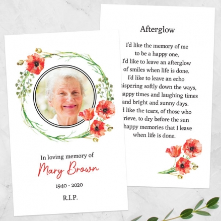 Funeral-Memorial-Cards-Poppy-Garland-Photo