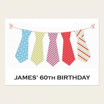 60th Birthday Invitations - Men's Tie Bunting