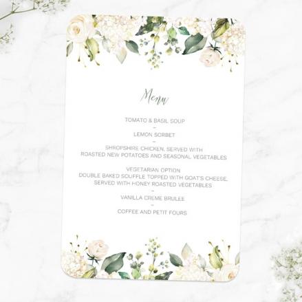 white-flower-garland-wedding-menus