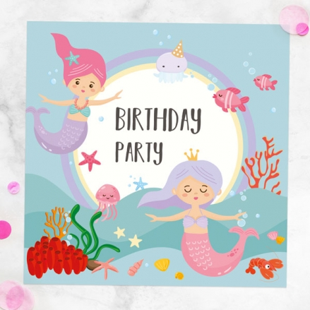 Ready To Write Kids Birthday Invitations - Mermaid Party - Pack of 10