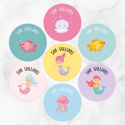 Mermaid Party - Personalised Kids Stickers - Pack of 35