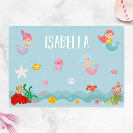 Personalised Kids Placemat - Mermaid Party
