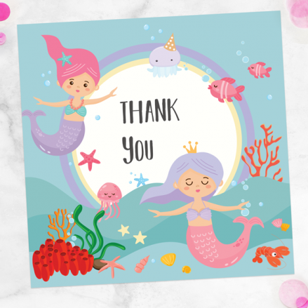 Ready to Write Kids Thank You Cards - Mermaid Party