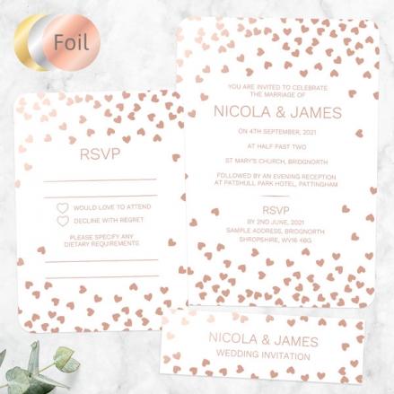 Metallic Hearts - Foil Boutique Wedding Invitation & RSVP
