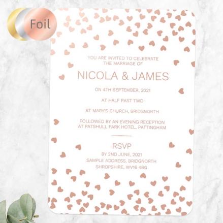 Metallic Hearts - Foil Wedding Invitations