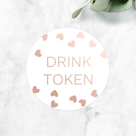 Metallic Hearts - Foil Drink Tokens - Pack of 30