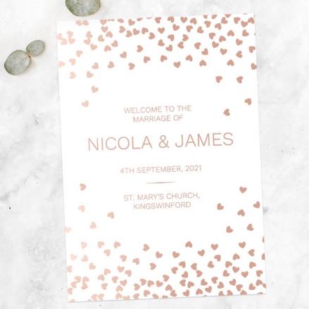 Metallic Hearts - Foil Wedding Order of Service