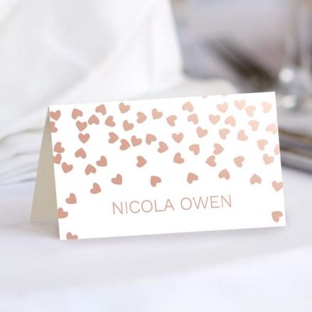 Metallic Hearts - Foil Wedding Place Cards