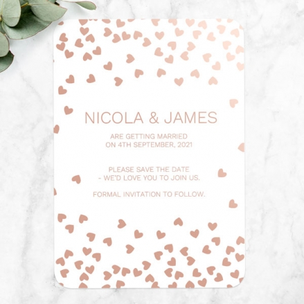 Metallic Hearts - Foil Save the Date Cards