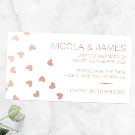 Metallic Hearts - Foil Save the Date Magnets