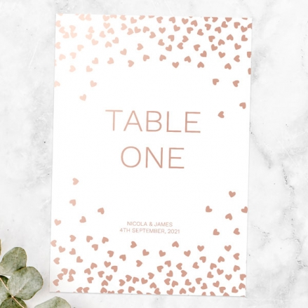 Metallic Hearts - Foil Table Name/Number