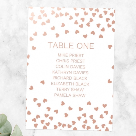 Metallic Hearts - Foil Table Plan Cards
