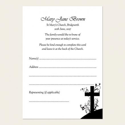 Funeral Attendance Cards - Monotone Crucifix Swirls
