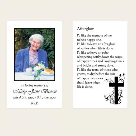 Funeral Memorial Cards - Monotone Crucifix Swirls