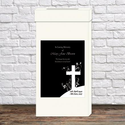 Funeral Post Box - Monotone Crucifix Swirls