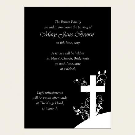 Funeral Announcement Cards - Monotone Crucifix Swirls