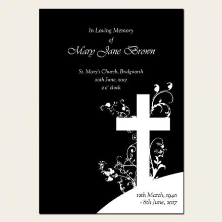 Funeral Order of Service - Monotone Crucifix Swirls