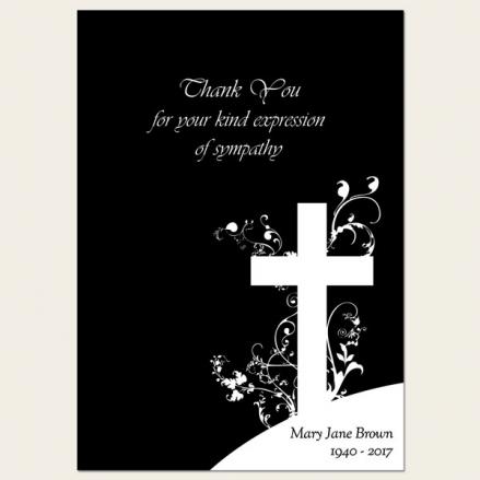 Funeral Thank You Cards - Monotone Crucifix Swirls