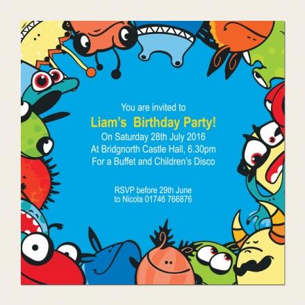 Personalised Kids Birthday Invitations - Monsters & Aliens - Pack of 10
