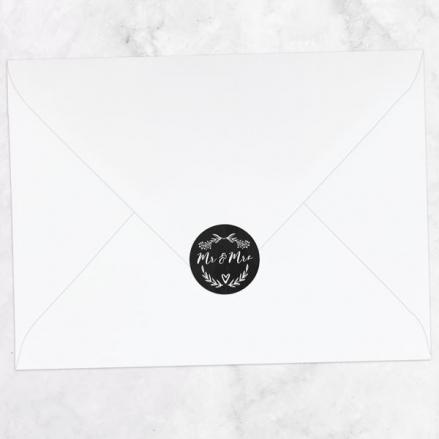 Mr & Mrs Floral Chalkboard - Wedding Envelope Seals