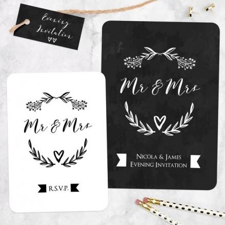 Mr & Mrs Floral Chalkboard - Boutique Evening Invitation & RSVP
