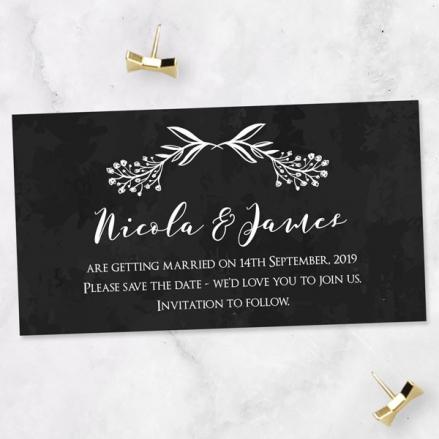 Mr & Mrs Floral Chalkboard - Save the Date Magnets