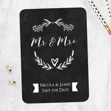 Mr & Mrs Floral Chalkboard - Save the Date Cards