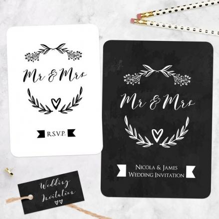 Mr & Mrs Floral Chalkboard - Boutique Wedding Invitation & RSVP