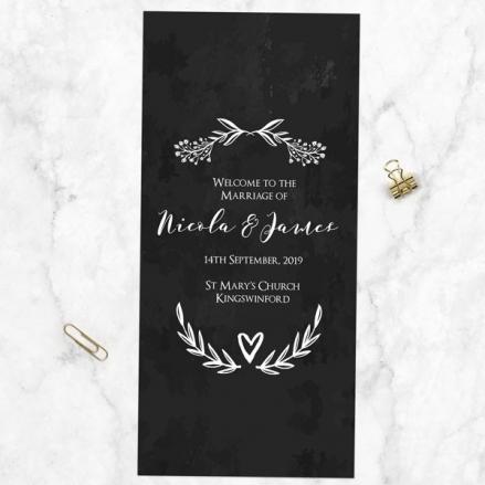 Mr & Mrs Floral Chalkboard - Order of Service Concertina