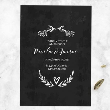 Mr & Mrs Floral Chalkboard - Wedding Order of Service