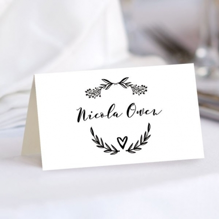 Mr & Mrs Floral Chalkboard - Wedding Place Cards
