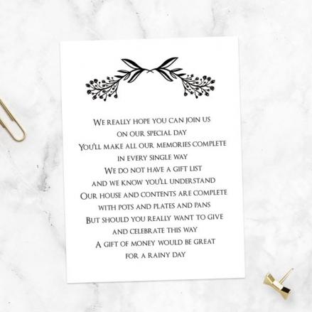 Mr & Mrs Floral Chalkboard - Gift Poem Cards