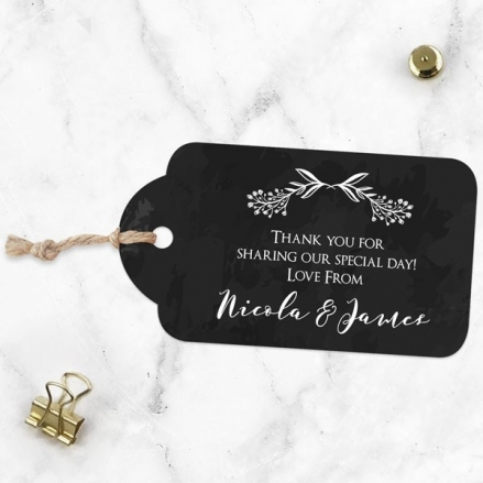 Mr & Mrs Floral Chalkboard - Favour Tags