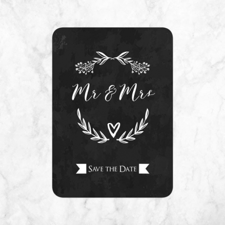 Mr & Mrs Floral Chalkboard - Ready to Write Save the Date Cards