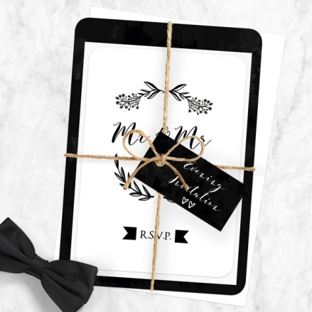 Mr & Mr Floral Chalkboard - Ready to Write Evening Invitations & RSVP