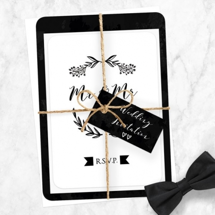 Mr & Mr Floral Chalkboard - Ready to Write Wedding Invitations & RSVP