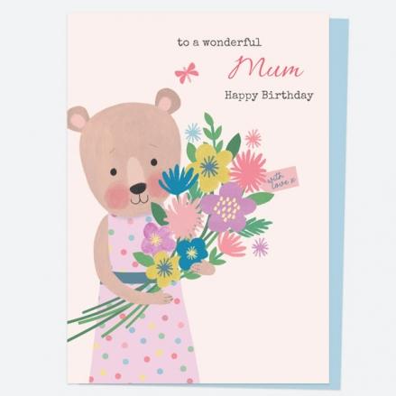 Mum Birthday Card - Dotty Bear - Bouquet - Happy Birthday Mum