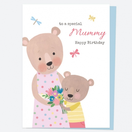 Mummy Birthday Card - Dotty Bear - Hug - Happy Birthday Mummy