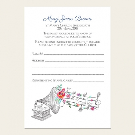 Funeral Attendance Cards - Music & Flowers