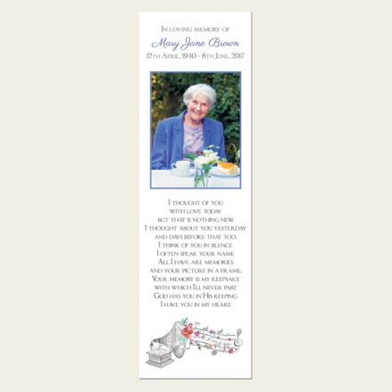 Funeral Bookmark - Music & Flowers